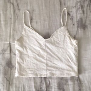 Cream white tank crop top